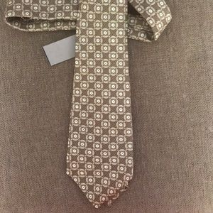 KITON NAPOLI 7 Fold Geometric Print Silk Tie $250